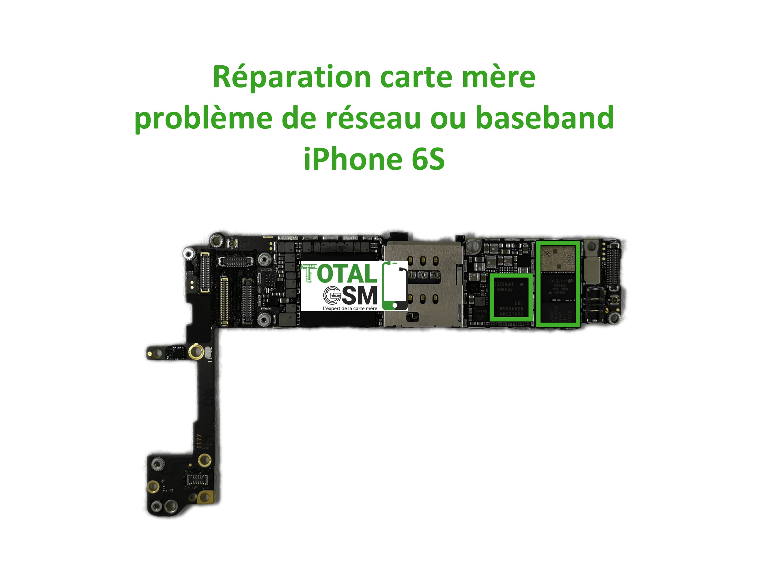 r paration carte m re apple iphone 6s probl me de r seau ou baseband n 1 en r paration de. Black Bedroom Furniture Sets. Home Design Ideas