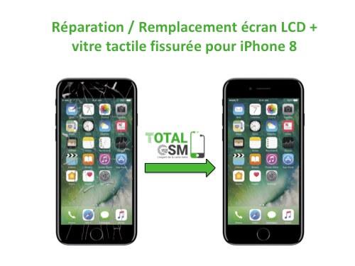 Forfait Réparation - Remplacement écran LCD + vitre tactile fissurée pour iPhone 8