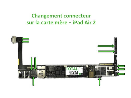 iPad Air 2 changement connecteur carte mere