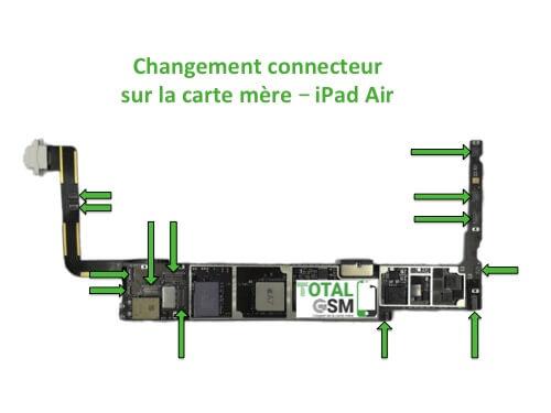 iPad Air changement connecteur carte mere