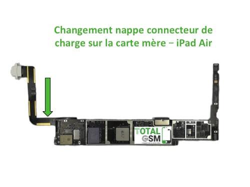 iPad Air changement connecteur de charge sur carte mere