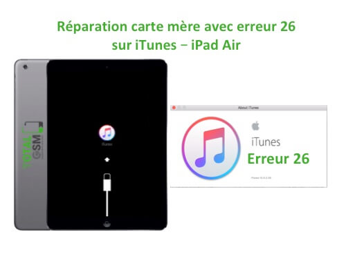 iPad Air reparation probleme erreur 26 sur itunes