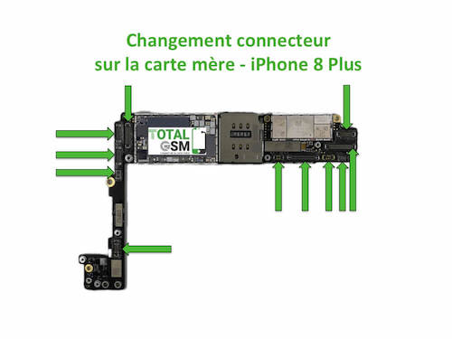 changement r paration connecteur sur carte m re iphone 8 plus total gsm. Black Bedroom Furniture Sets. Home Design Ideas