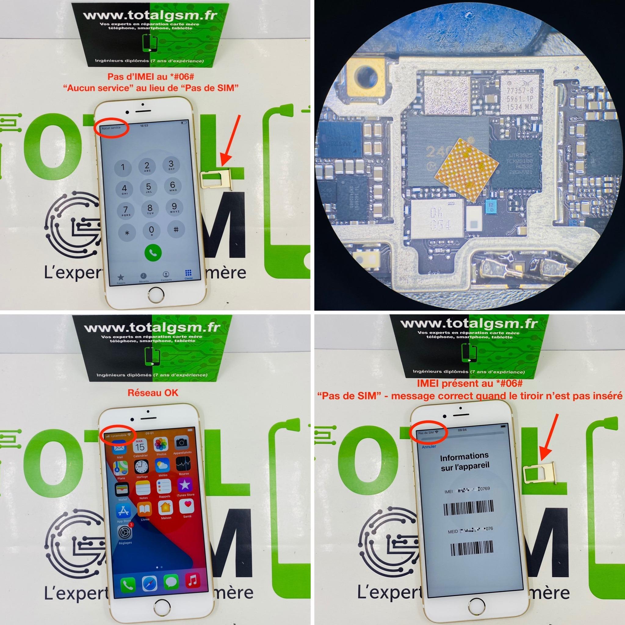Réparation iPhone 6S - Problème de réseau / baseband / No Service / Aucun service / Recherche en cours