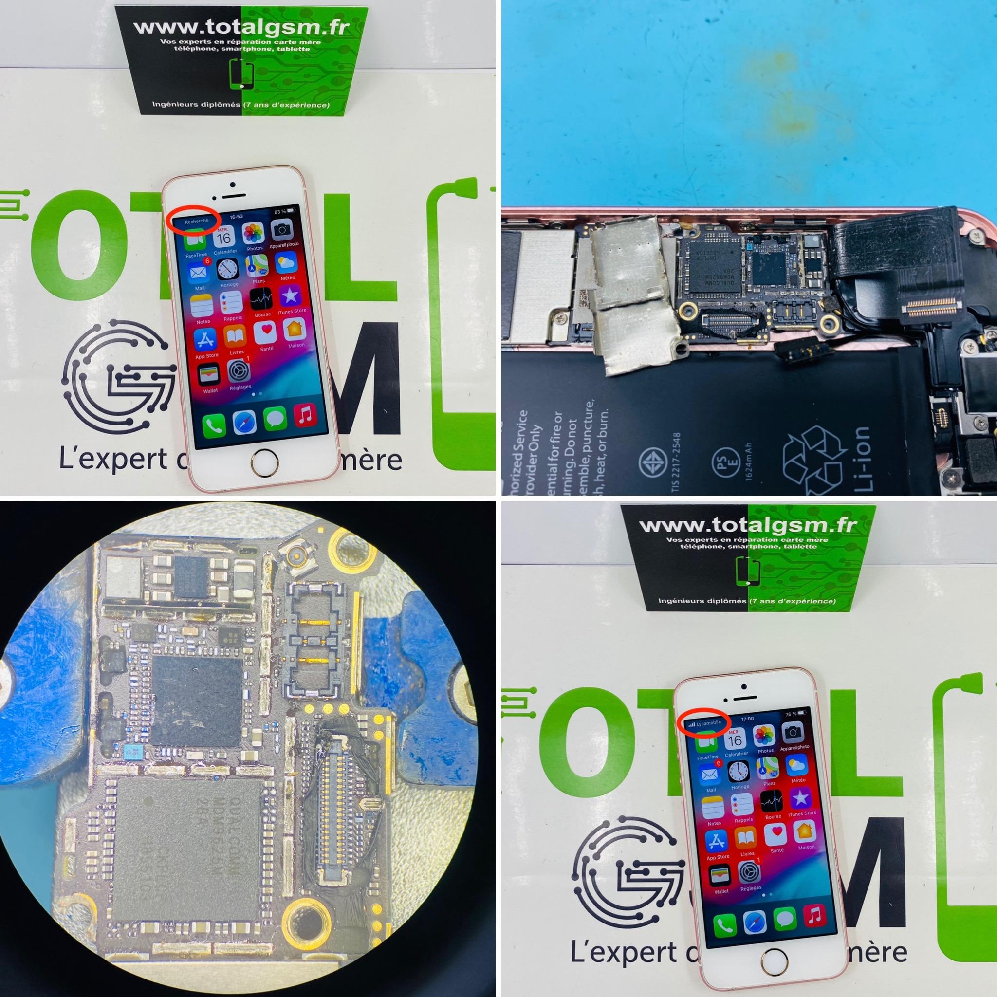 Réparation iPhone SE - Problème de réseau / baseband / No Service / Aucun service / Recherche en cours