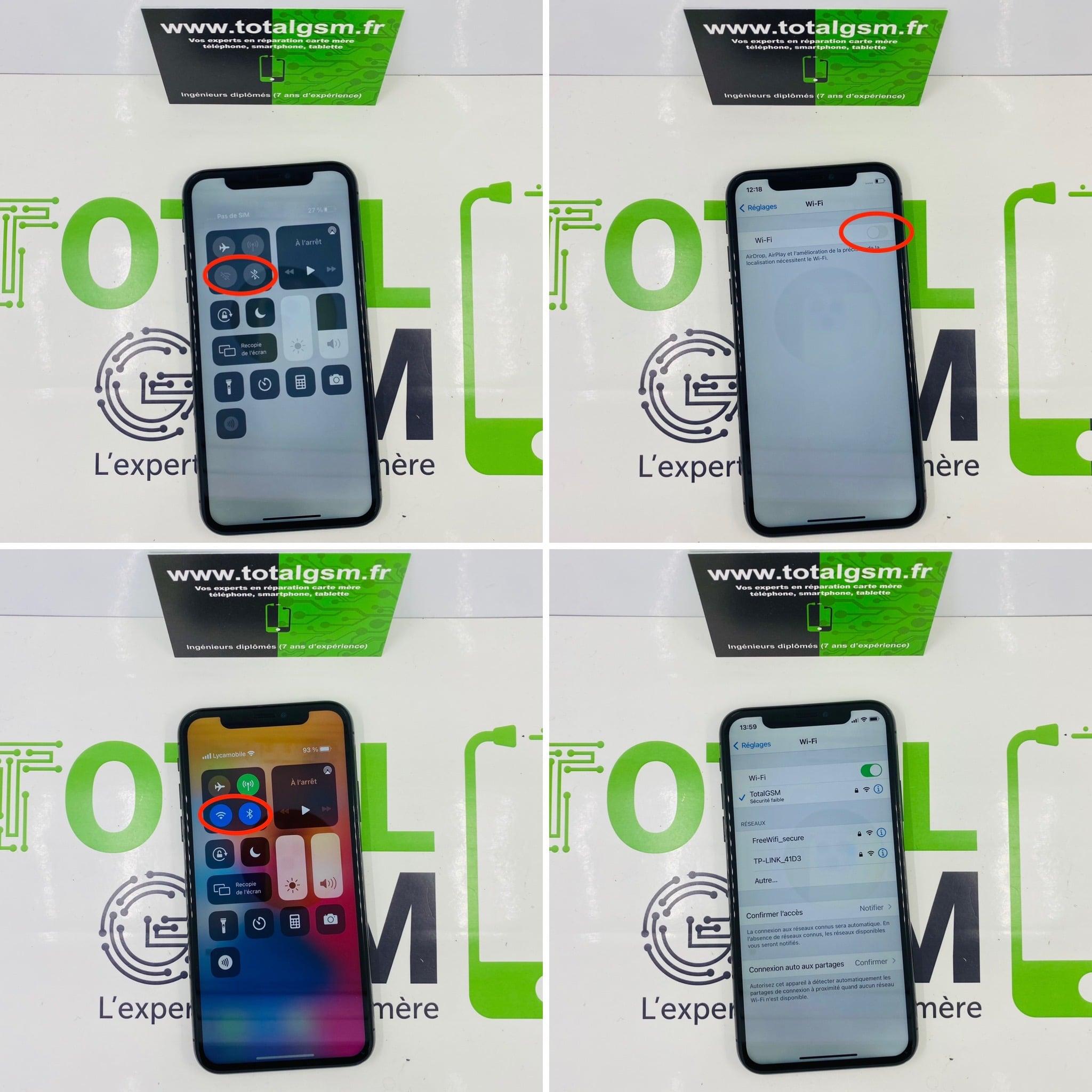Réparation iPhone X - Wifi et Bluetooth grisés (pas de Wifi, ni de Bluetooth)