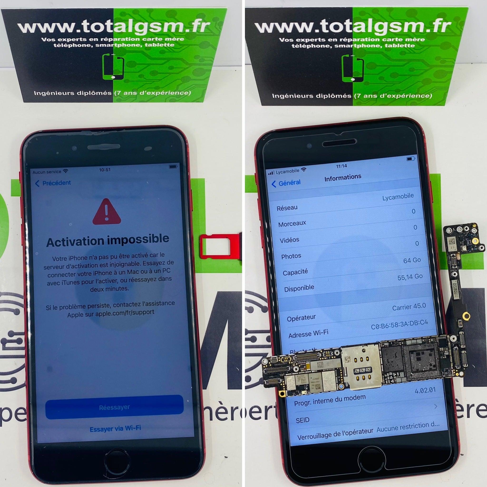 Réparation iPhone 8 Plus - Problème de réseau / baseband / No Service / Aucun service / Recherche en cours
