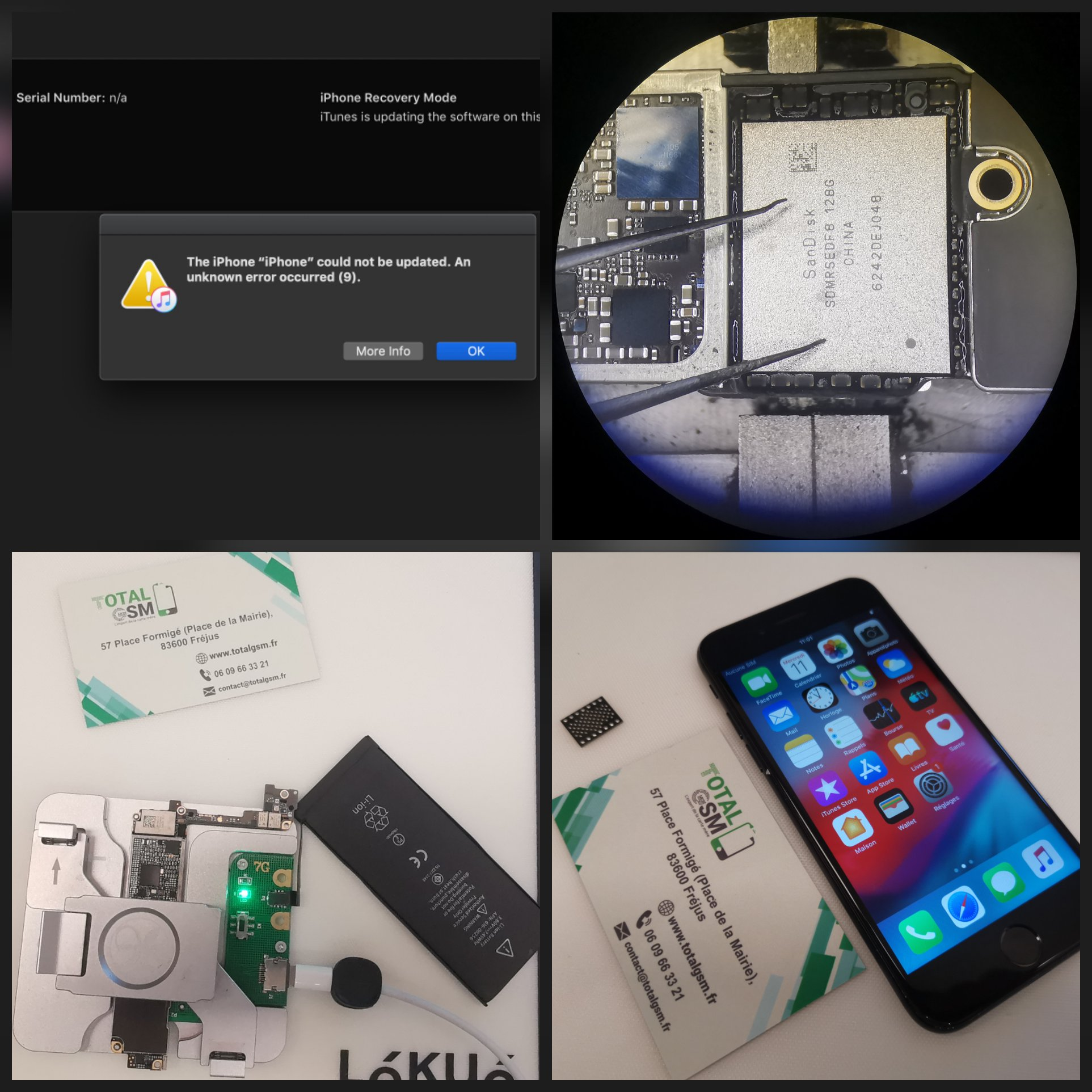 Réparation iPhone 7 - Erreur 9 iTunes