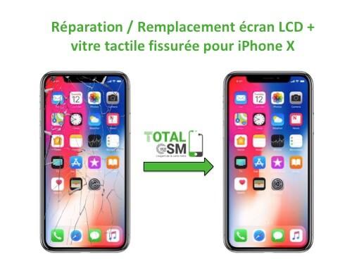 Forfait Réparation - Remplacement écran LCD + vitre tactile fissurée pour iPhone X