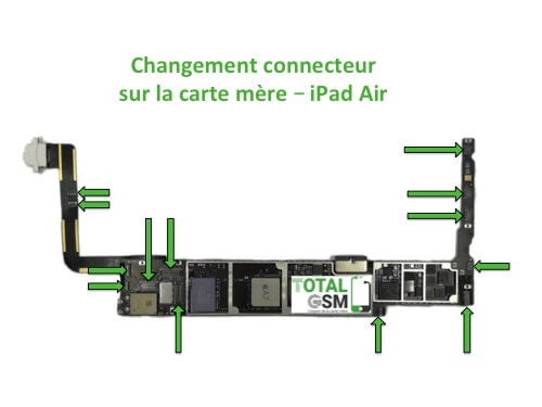 iPad Air changement connecteur carte mere