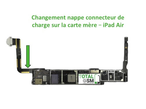 iPad Air changement connecteur de charge sur carte mere