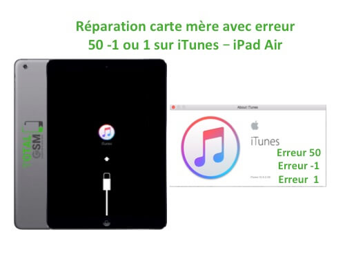 iPad Air reparation probleme erreur 50 -1 1 sur itunes