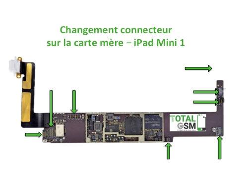 iPad Mini 1 changement connecteur carte mere