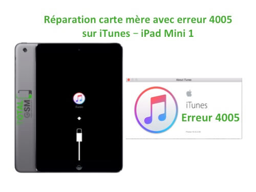 iPad Mini 1 changement reparation erreur 4005 itunes