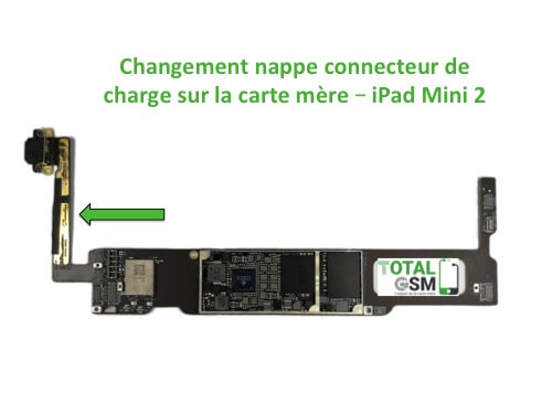 iPad Mini 2 changement nappe de charge carte mere