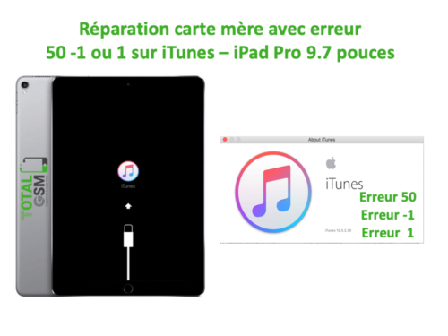 iPad Pro 9.7 pouces reparation probleme erreur 50 -1 1 sur itunes