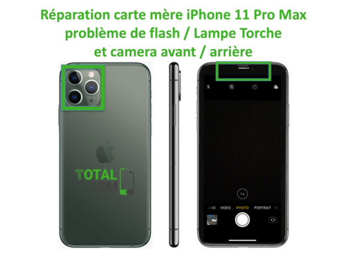 iPhone-11-pro-max-reparation-probleme-de-camera-arriere et avant + FLASH