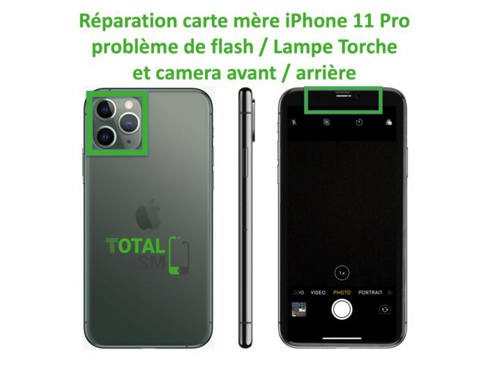 iPhone-11-pro-reparation-probleme-de-camera-arriere et avant + FLASH