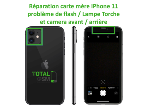 iPhone-11-reparation-probleme-de-camera-arriere et avant + FLASH