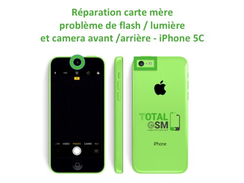 iPhone 5c flash camera avant arriere